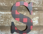 """Decorative 9"""" Black and Red Buffalo plaid Monogram, Letter Wreath, Initial, Wedding Decor, Holiday Decor, Front Door, Gallery Wall,"""