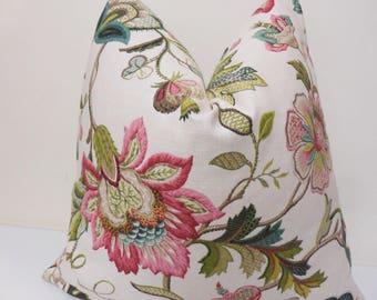 Floral Pink - Green - Blue Pillow Cover - Kaufmann Brissac Jewel - Decorative Pillow cover -  SofaPillow - Accent Pillow - Euro Sham Pillow