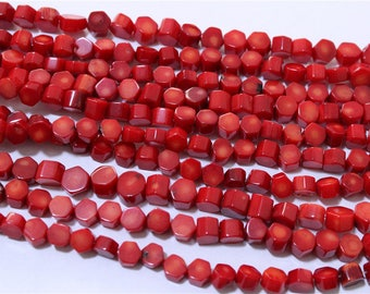 wire shape coral bead red Hexagon