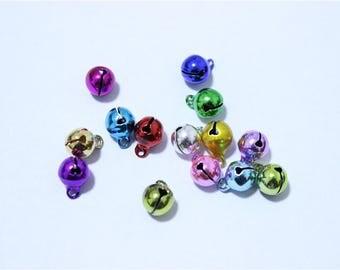 30 metallic multicolor 8mm brass bells pendants