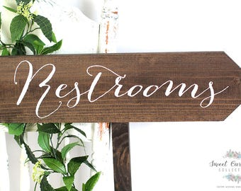 Wedding Sign Restroom | Outdoor Wedding Signs | Wedding Signs | Wedding Signage | Rustic Wedding Signs | Wedding Decor | Wood Signs - WS-24