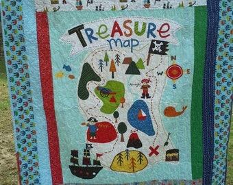 Sale Handmade Boy Toddler Quilt w Pillowcase, Boy Toddler Bedding, Boy Crib/Toddler Quilt,  Nautical Quilt, Treasure Map by Riley Blake