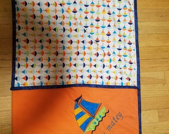 Personalized Receiving Blanket, Ship Blanket, Ship Blankie, Flannel Blanket, Baby Shower Gift, Boy Baby Present, Boy Baby Shower