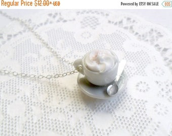 ON SALE Mocha or Hot Cocoa Cup and Saucer Necklace, Whipped Cream, Kawaii, Choice of Sterling Silver, Stainless Steel, or Silver Plated Chai