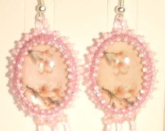 Embroidered on cabochon with printed cherry blossom earrings pink Swarovski Crystal