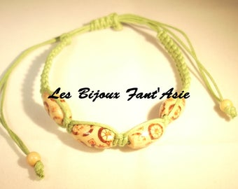 Lime green macrame bracelet and adjustable wooden beads