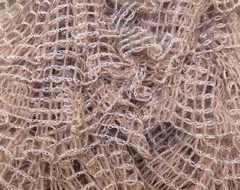 Beige Plaid ruffles scarf - handmade
