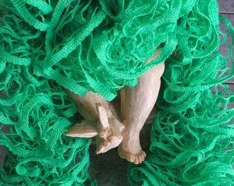 Green ruffled scarf for girl - handmade