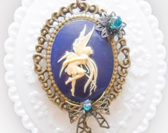 Fairy cameo Necklace blue brass