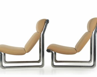 Pair of Hannah Morrison for Knoll Polished Aluminum Lounge Chairs