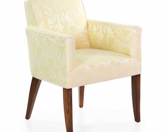 Fine French Art Deco Period Rosewood and Yellow Damask Upholstered Arm Chair circa 1935