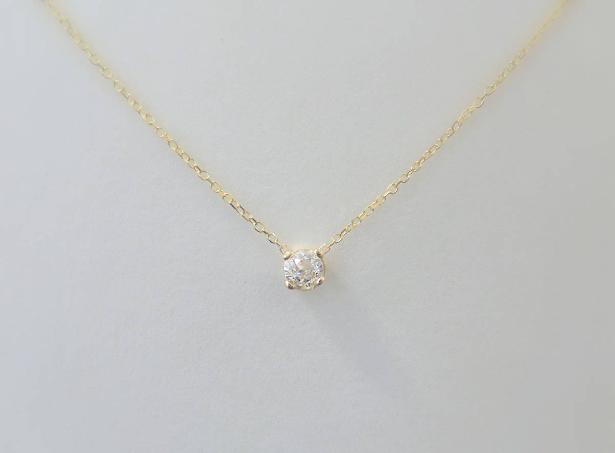 Diamond necklace 14k yellow gold delicate solitaire necklace diamond necklace 14k yellow gold delicate solitaire necklace dainty diamond pendant gold diamond pendant floating diamond necklace aloadofball Image collections