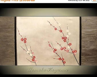 4th of July sale Original Modern Art  Painting on Gallery wrapped Canvas 48 x 24, Home Decor, Wall Art ---Japanese Plum Blossoms---- by Tomo