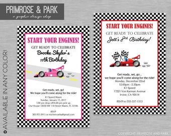Race Car Invitation Printed // Birthday or Baby Shower Invitations // Go Cart Invitation For Boy or Girl