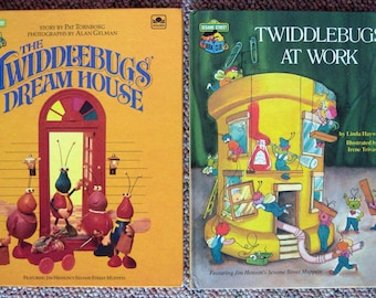 2 Sesame Street Book Club Titles - Twiddlebugs at Work and The Twiddlebugs Dream House  - Jim Henson's Muppets - Childrens Book Collection