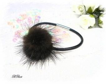 black fur leather bracelet * BR636