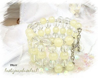Cuff charm bracelet ivory glass pearls and crystal BR538