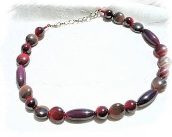 Pink Fuchsia beaded Choker necklace