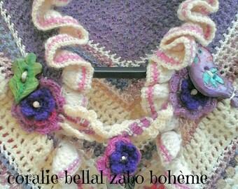 Châle tricoté main crochet-châle femme en laine-châle unique fait-main-chauffe-épaules-couvre-épaules