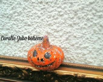 Halloween petite citrouille céramique faite-main-décoration d'halloween-décoration d'automne