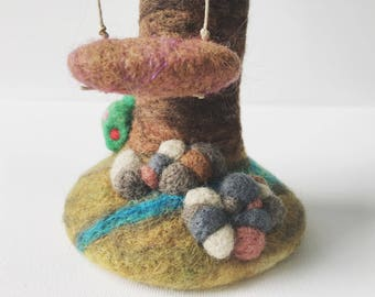 Tree Sculpture, Wool Felted Tree, Tree of Life, Swing, collectible art, soft toy by Wooly Topic