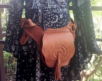 Kevin Festival Belt-Cuero Leather-,tribal fabrics,gypsy bag,boho bag, holster hipster bag