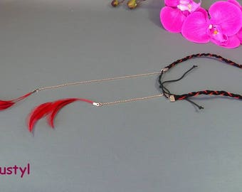 """Fancy headband """"Feathers"""" Black Suede, thread and feathers"""