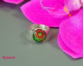 """Ring - Cabochon 12 mm - Image """"Red flower"""""""