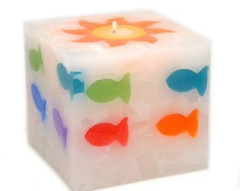Cosmic Candles Fish Square Pillar Unscented 4x4