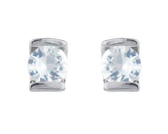 White Sapphire Half Channel Stud Earrings Stud Earrings .925 Sterling Silver