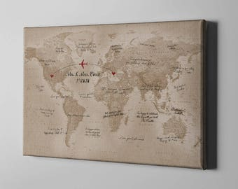 Map guest book etsy sale 50 off canvas guest book 2 countries map plotting guestbook vintage rustic gumiabroncs Choice Image