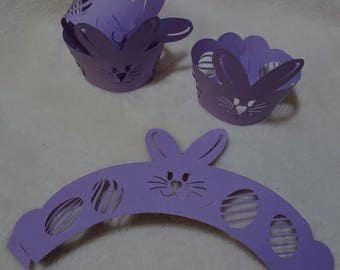 Easter Cupcake Wrappers, Bunny Cupcake Wrappers, Egg Cupcake Wrappers, Egg Shape Cutout, Rabbit Cupcake Wrapper,