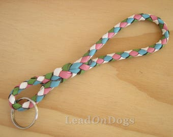Design Your Own - Infinity Key Ring Braided Kangaroo Leather Personalised - Custom Made to Order