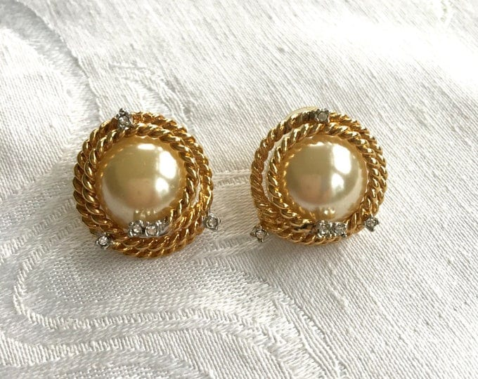 Joan Rivers Earrings, Baroque Pearl Earrings, Gold Tone Rhinestone, Pierced Earrings