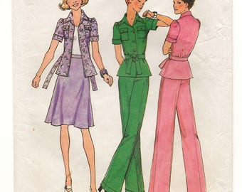 "A Side Zip Bias Cut Skirt, Wide Leg Pants, and Short Sleeve, Tie End Jacket Sewing Pattern for Women: Size 14, Bust 36"" • Simplicity 6878"