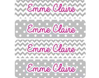 80 personalized name labels, school stickers, custom school label, teacher labels, book labels, back to school supply sticker, gray chevron