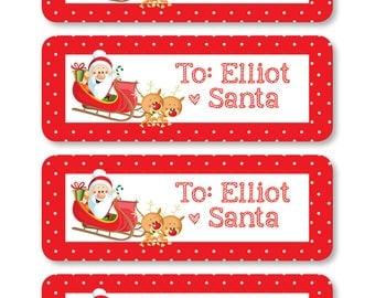 Santa Labels, Personalized Santa Labels, Christmas Labels, Christmas Tags, Christmas Gift Label, From Santa Tag, Personalized Santa Sticker