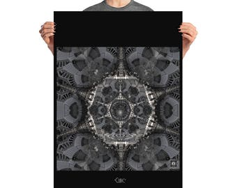 Poster cubic , art print , sacred geometry , cube of space , hyper cube , algorithmn , sacred art , cube , abstract , platonic solids