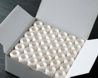 White Pre-wound Plastic Bobbins - Embroidery Thread - SA156, Class 15, A size