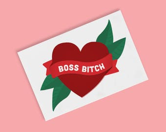 Boss Bitch Temporary Tattoos | Feminist | Nasty Woman | Girl Power