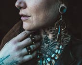 Boho Tribal Post Apocalyptic Bison Tooth Hoop Earrings