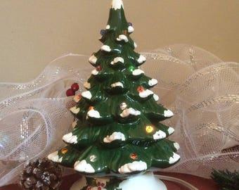 Vintage Ceramic Lighted Christmas Tree Japan Flocked
