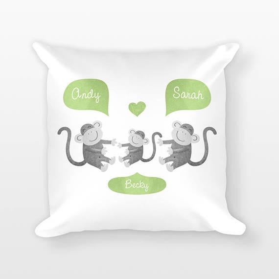 Monkey Nursery Pillow, Personalized Baby Gift, Shower Gift, Jungle Nursery Decor, Pillow for Kids Room Decor, Animal Nursery Throw Pillow