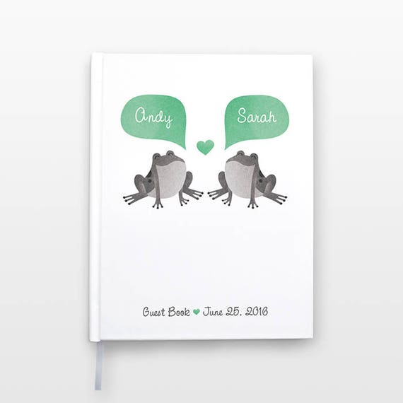 FROG Wedding Guest Book, Personalized Wedding Gift, Unique Wedding Guestbook, Hardcover Personalized Notebook, Animal Couple Journal