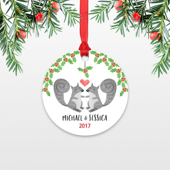 Personalized Christmas Ornament Squirrel Couple Engaged Christmas Ornament Engagement Ornament Married Wedding Ornament Christmas Decoration