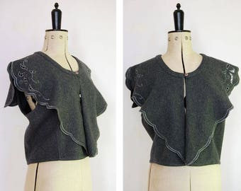 Vintage 1980s 90s Wool nautical grey cape - Vintage wool cape - wool waistcoat - Wool vest