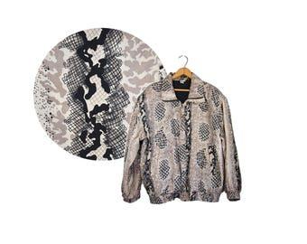 Medium SILK Bomber Jacket // 90's Abstract Leopard Print Bomber // Grey Leopard Print Jacket // E36