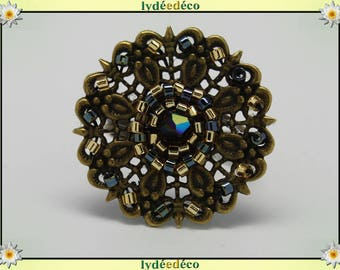 Charming retro vintage Adjustable ring bronze gold black glass beads