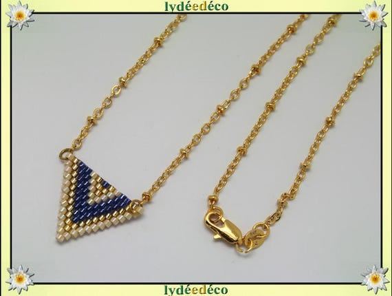 Necklace plated 18 k gold blue beige and gold woven triangle chevron chain ball