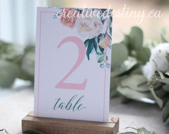 Set 1-20 of 4x6 inch Floral Watercolour Table Numbers